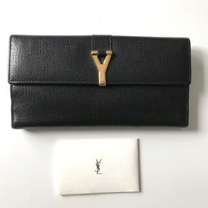 YSL Yves Saint Laurent Y-line monogram flap wallet